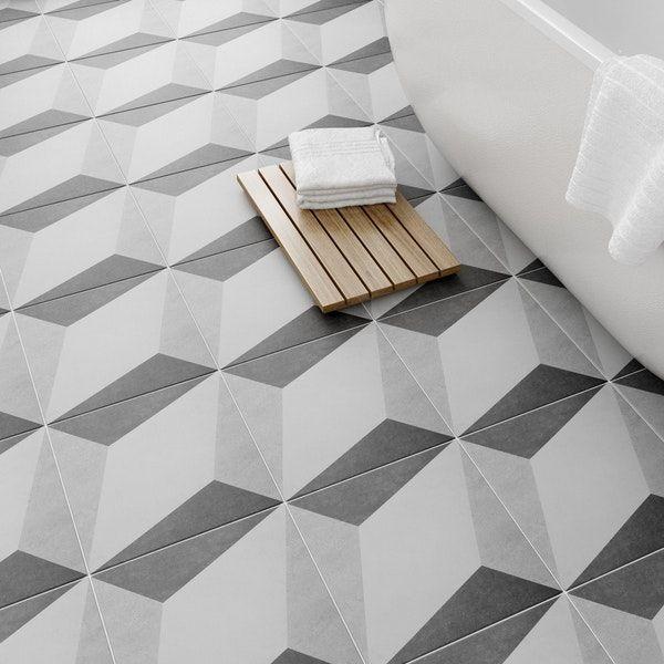 British Ceramic Tile Geometric Grey Feature Floor Tile 331mm X 331mm Tile Floor Ceramic Floor Tiles Tiles