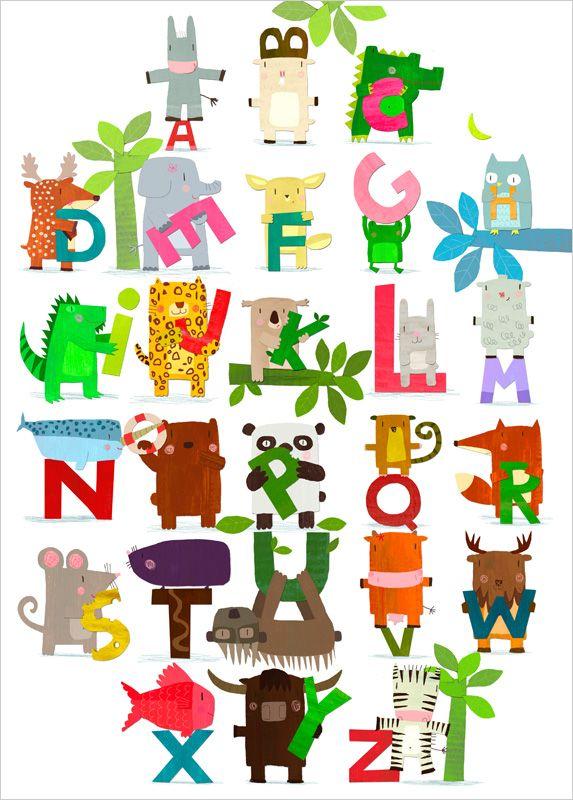 Animal alphabet wall art for kids - Laurence Jammes - L'Affiche Moderne