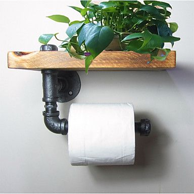 Industrial Urban Style Galvanised Steel Pipe Reclaimed Wood Toilet Roll Holder Bathroom Towel Rrack, Ttoilet Paper-J011 2016 - £38.49