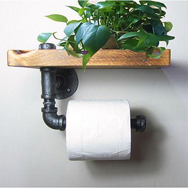 Industrial Urban Style Galvanised Steel Pipe Reclaimed Wood Toilet Roll Holder Bathroom Towel Rrack, Ttoilet Paper-J011 – USD $ 43.99