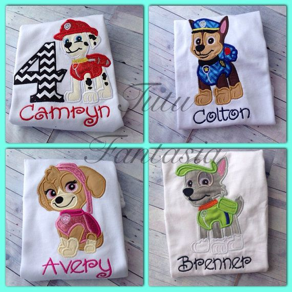 paw pups inspired birthday shirt por TutuFantasia en Etsy