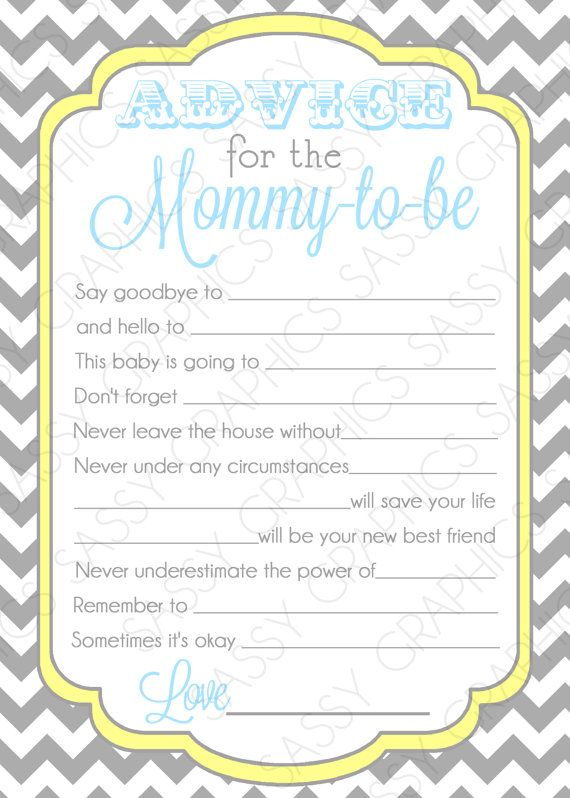 This listing is for a instant download, digital, printable, file of an Instant Download Baby Shower Advice Card - Chevron, Blue, Yellow,