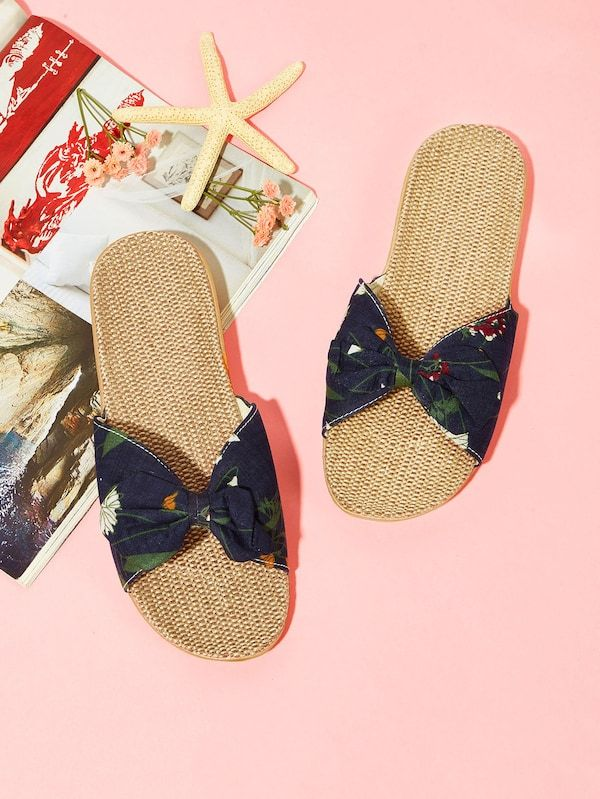 c5ab391f2de5ad Bow Decor Calico Print Slippers -SheIn(Sheinside)