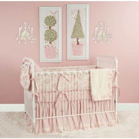 Pink Toile Crib Bedding at Jack and Jill Boutique