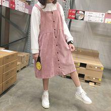 Осенью и зимой женщин новый вельвет платье студент кампуса стиль сплошной цвет свободные Средние и длинные Ремень платье(China (Mainland))