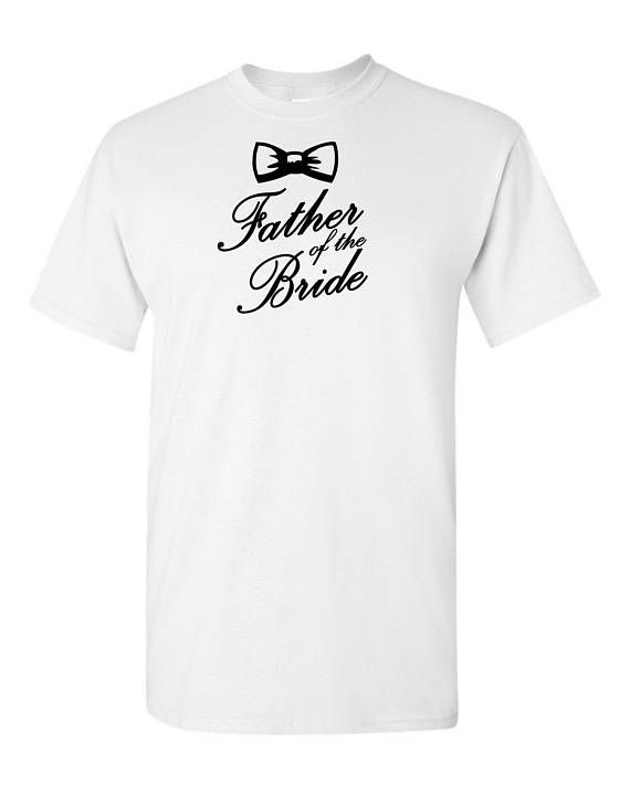 Father of the bride original design heavy cotton t-shirt - bridal groom party bow tie tee - wedding party t-shirt - brides father t-shirt