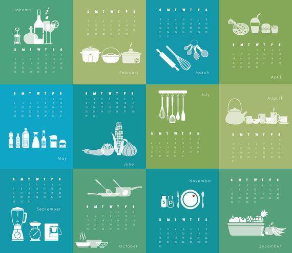 Printable Calendar 2014 Kitchen Food - blue green - CD Case Desk Calendar planner wall calendar