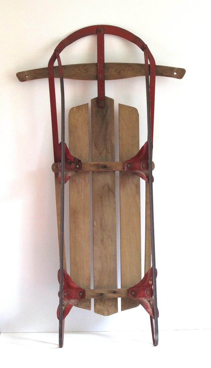 Vintage champion snow sled kalamazoo sled 42 oak and for Vintage sleds