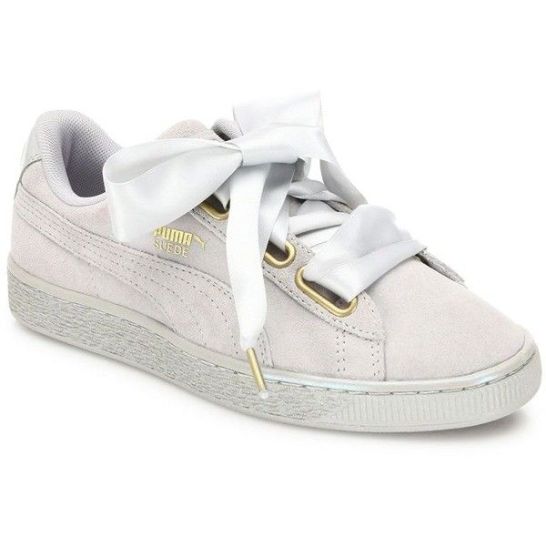 PUMA Basket Heart Suedeand Satin Sneakers found on Polyvore featuring shoes, sneakers, basket, rubber sole shoes, grey satin shoes, lacing sneakers, lace up sneakers and round toe sneakers