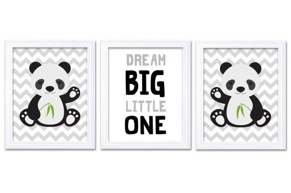 Panda Nursery Art Set of 3 Print Black Grey Gray by KidsNurseryArt