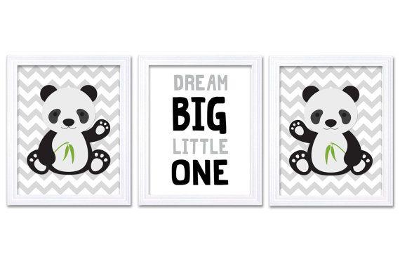 Panda Nursery Art Set of 3 Print Black Grey Gray by KidsNurseryArt