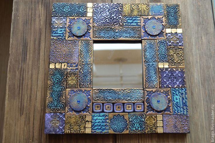 Купить Зеркало декоративное. Фиолетовое, полимерная глина - фиолетовый, зеркало, зеркало в деревянной раме