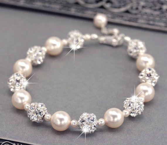 Ivory Pearl Wedding Bracelet Swarovski Pearl and by LizardiBridal