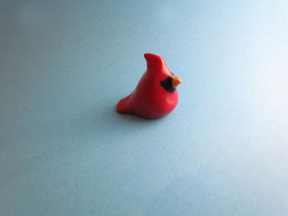 Miniature Cardinal Polymer Clay Sculpey Cardinal By