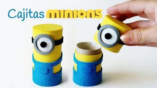 Cajitas Minions hechas con tubos de cartón