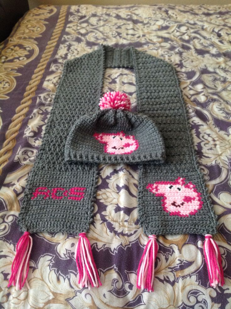 Crochet Peppa Pig Hat And Scarf With Initial Football