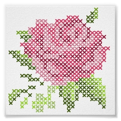 cross stitch rose - I would really like do do a giant cross stitch, either on pegboard or canvas