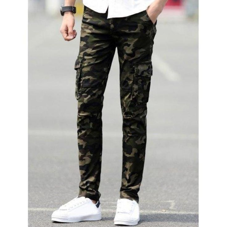 Slim Fit Camo Cargo Pants with Pockets - Deep Green