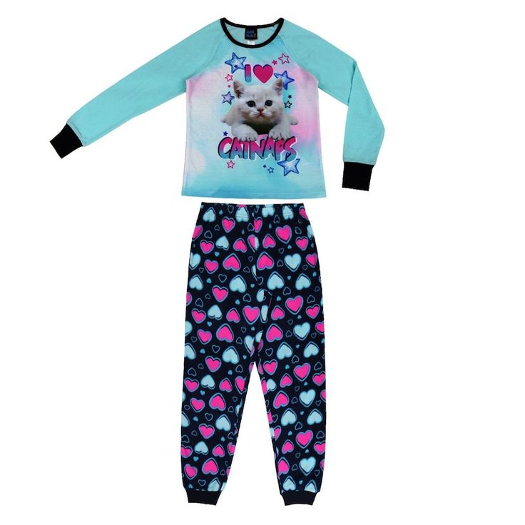 Girls 4-16 Jellifish 2-pc. Puppy & Emoji Graphic Pajama Set, Size: 10-12, Turquoise/Blue (Turq/Aqua)
