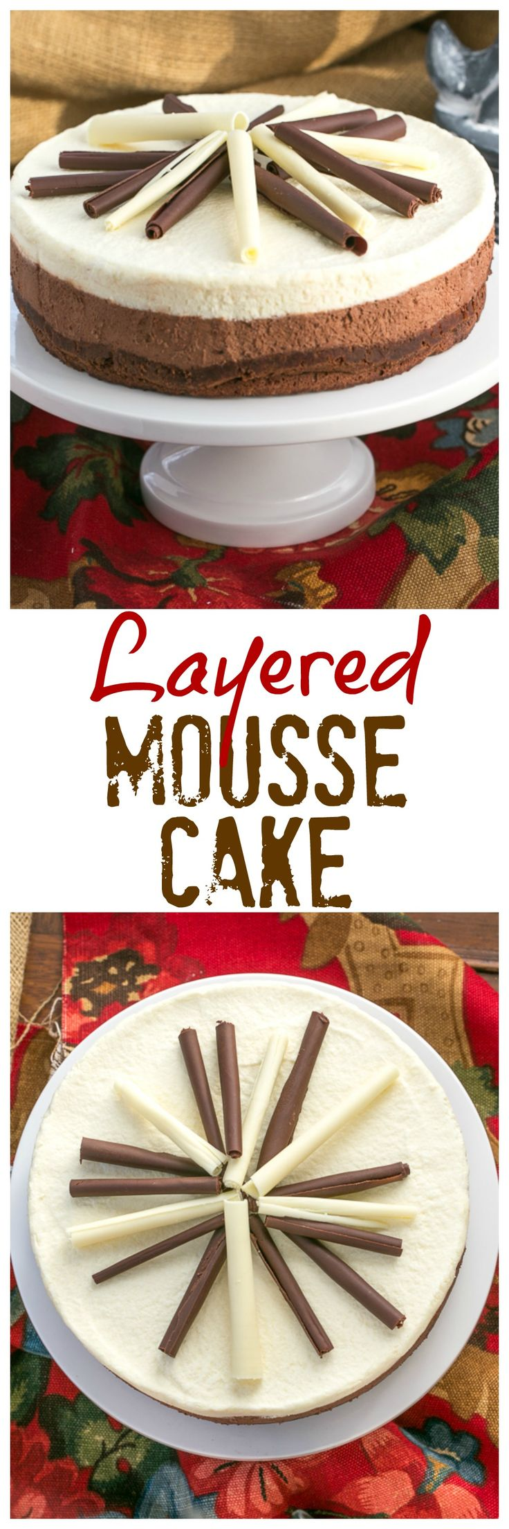 Layered Mousse Cake   An exquisite triple-layered mousse cake that's perfect for the chocoholics in your life! @lizzydo