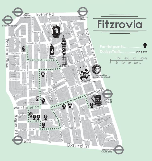 Fitzrovia MapThe historically bohemian area was once home to such writers as Virginia Woolf, George Bernard Shaw and Arthur Rimbaud