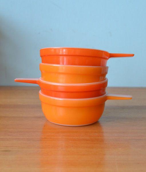 Vintage Pyrex  Crown ramekins orange & two toned  x 4 bowls dish