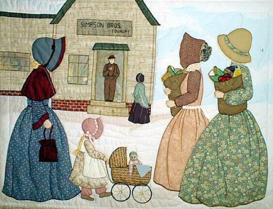 "#11 ""The Bonnet Girls Neighborhood & Town"" The Foundry Pattern $13.50. Minnie, Nell, Nettie and Ruth pass by the foundry with their grocery shopping bags and see Mr. and Mrs. Simpson in the background. Embroidery floss will be needed for the baby carriage wheels. A stone fabric defines the building."