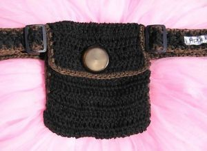 Ladies HIPPSYSAC Crocheted Fanny Pack Waist Belt BLACK -Brown Trim NeW