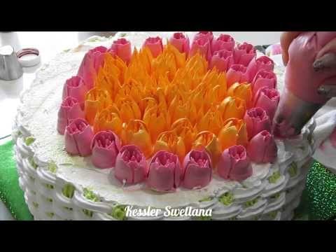 Тренировочное оформление торта тюльпанами. - YouTube