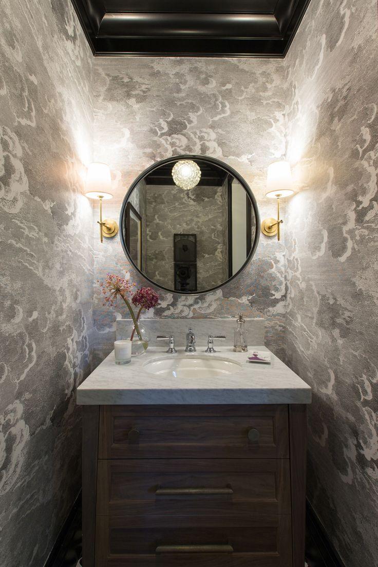 Powder room Cole & Son Fornasetti Nuvolette wallpaper bathroom vanity  #drdwallpaper clouds