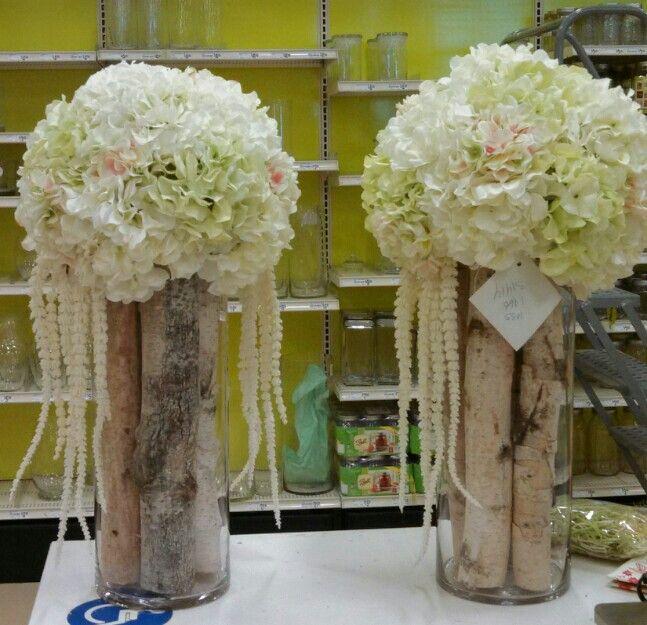 Birch hydrangea wedding church floral centerpiece