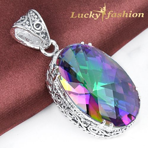 Free shipping New Arrival 925 silver Vintage Natural Rainbow mystic topaz Crystal Pendant P0895