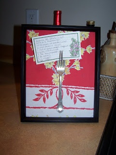 An old tablecloth, an old fork and you have a recipe holder or a great display for a treasured recipe.