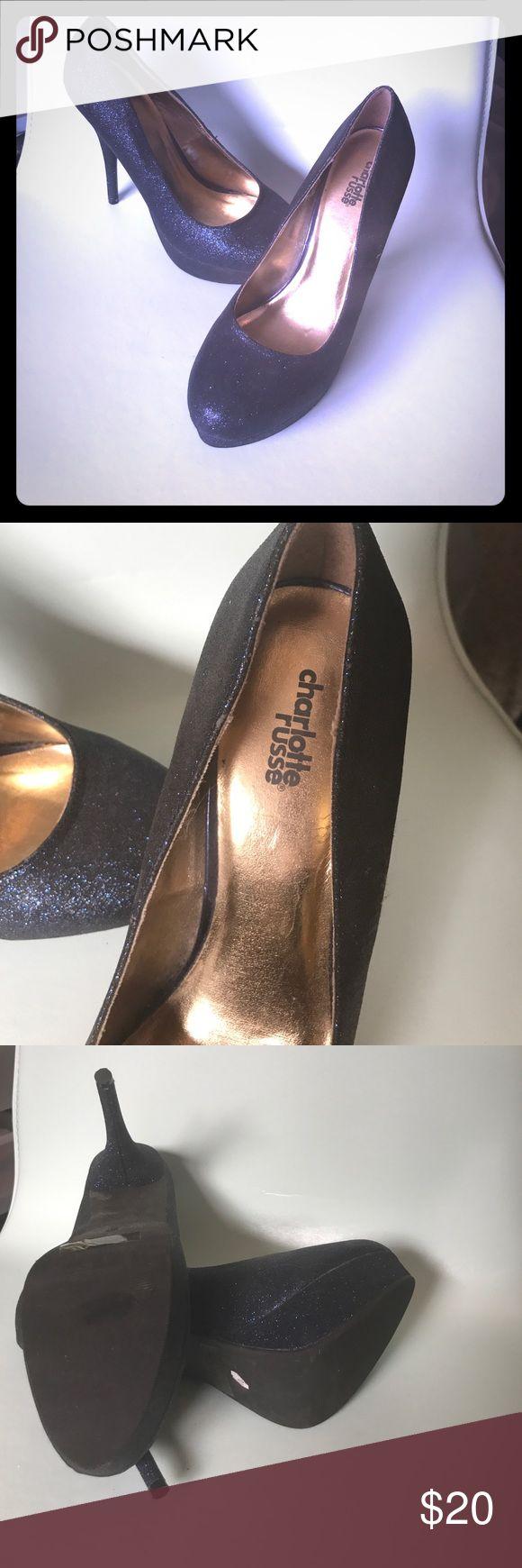Charlotte Russe blue sparkle high heels Amazing navy sparkle Charlotte Russe 5 inch high heels in excellent condition! Charlotte Russe Shoes Heels