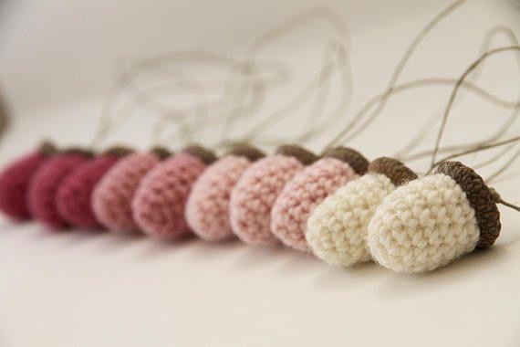 ACORNS  set of 10 acorn ornament crocheted home decor