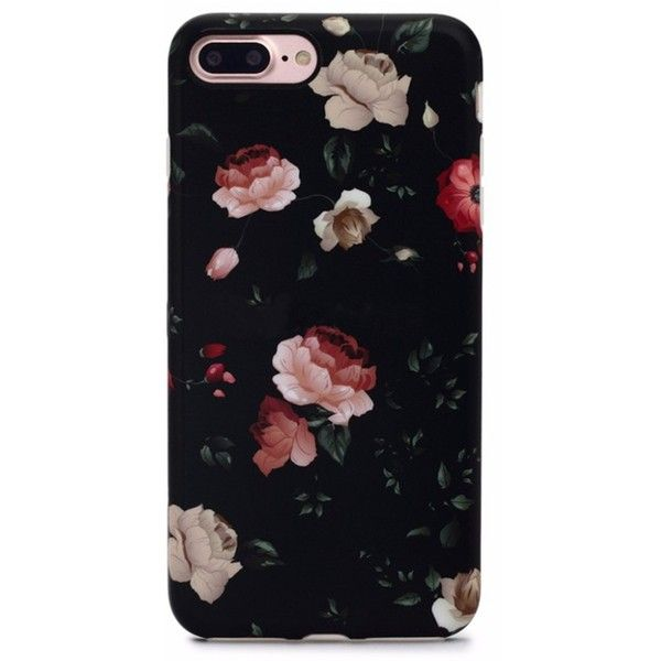 Floral Case for iPhone 8 Plus 7 Plus Dark Rose ($29) ❤ liked on Polyvore featuring accessories and tech accessories