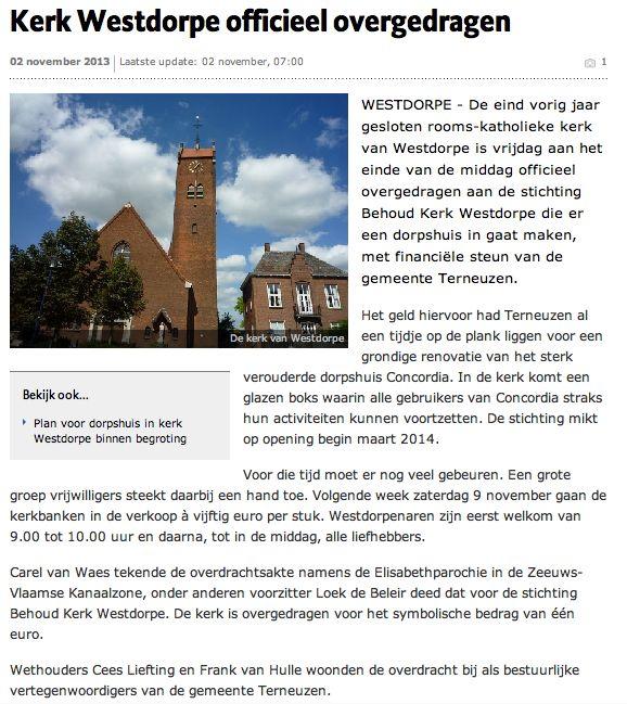 Artikel kerk(bank) Westdorpe
