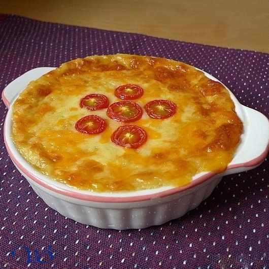 Potato casserole with cheese and onions