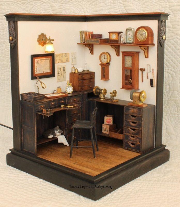 Miniature Watch and Clock Repair Shop - room box in 1:12 scale