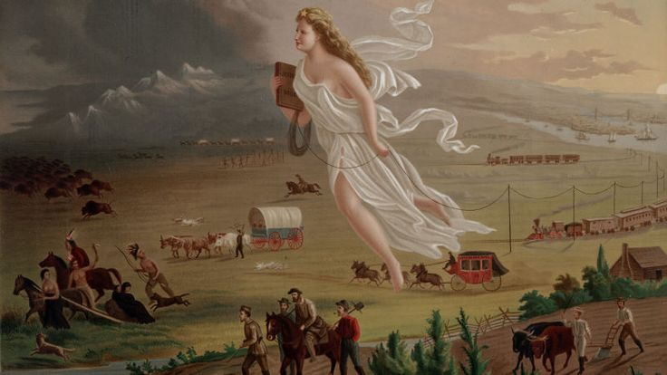"An allegorical depiction of ""American progress"" carries telegraph wire westward. Behind her, settlers follow with stagecoaches, conestoga wagons, and railroads, symbolizing the virtue of taming the western frontier. But in truth, such conveniences took decades to appear.  15 Tools That Helped Pioneers Survive on the American Frontier"