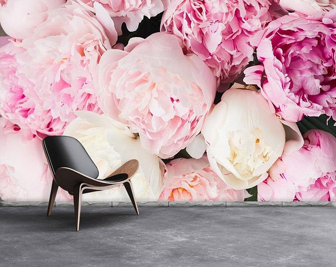 Large Flower Wallpaper Large Flower Mural Peel And Stick Etsy Pink Floral Background Peel And Stick Wallpaper Floral Background