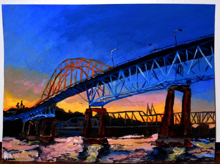 "A View of the Pattulo Bridge. 2014. Acrylic on thick paper. 14"" x 11"" . Pattulo Bridge, painting, Vancouver, skyline, art Kelsey Rempel: Artist at Play"