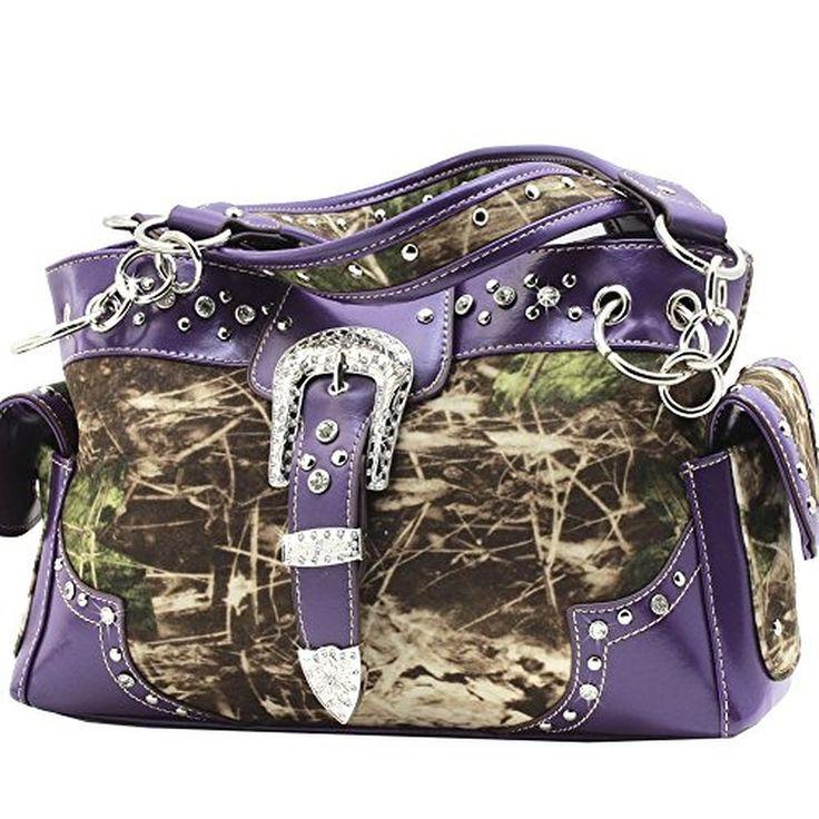 Western Belt Buckle Purse Soft Camouflage Camo Handbag Satchel