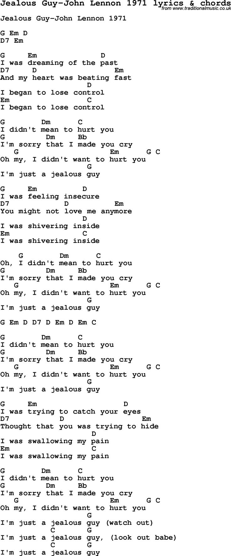 255 best songs images on pinterest music songs and lyrics love song lyrics for jealous guy john lennon 1971 with chords for ukulele hexwebz Image collections