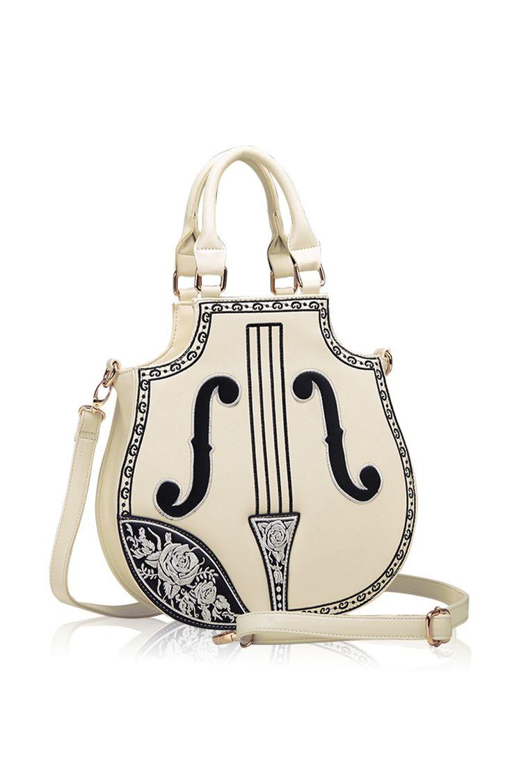 Vintage Cream Violin Hand Bag