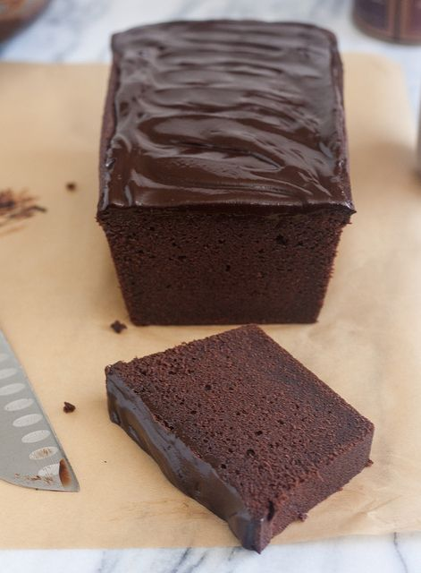 Glazed Chocolate Pound Cake--Like any good pound cake, this one is dense with a tight crumb, but also moist. It has tons of chocolate flavor, thanks to the inclusion of cocoa powder as well as chopped milk chocolate.