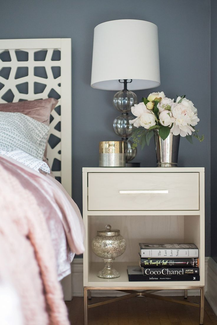 Bedside table decor pinterest - The Chic Technique A Toronto Bedroom Gets A Stunning Makeover West Elm Bedside Table Decornightstand