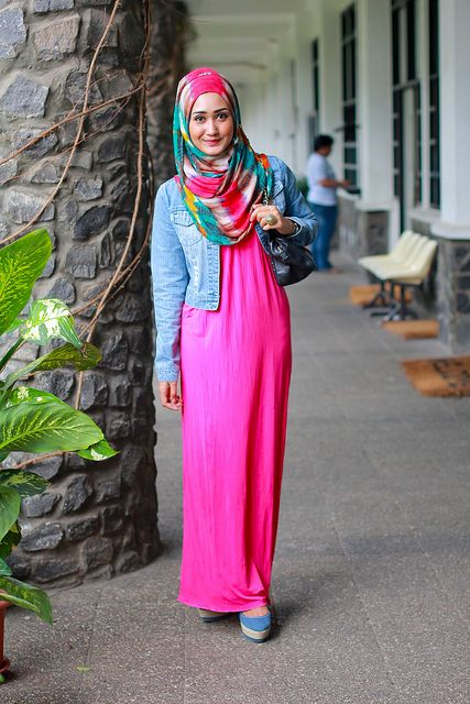 Maxi dress outfit with hijab