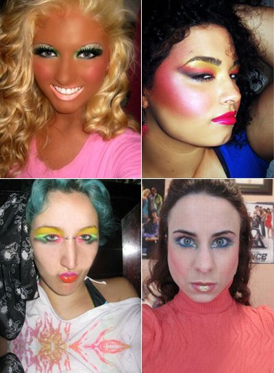 Real women post their bad makeup pictures on the Internet. Keep reading to see pictures of ugly makeup.