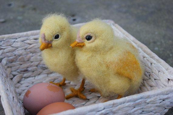 Naald Felted chick Waldorf gele kuiken van DaliaNerijusFelt op Etsy